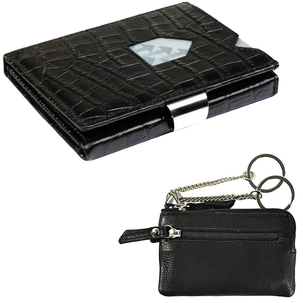 760c187f059 Exentri Portefeuille Caiman Noir avec étui à clés en cuir
